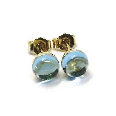 18K YELLOW GOLD BUTTON LOBE EARRINGS, CABOCHON BLUE TOPAZ DIAMETER 6mm
