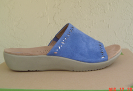 NEW EARTH BLUE LEATHER WEDGE SANDALS SIZE 8 M $69 - $30.56