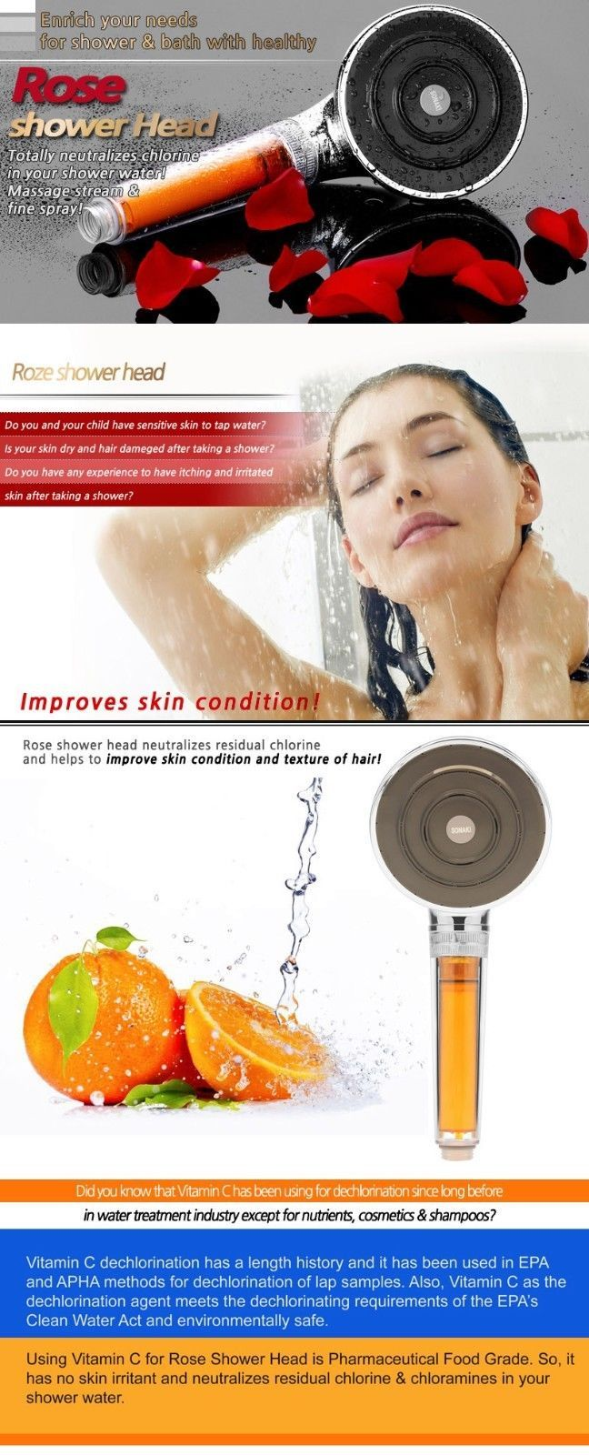 VitaFresh F Vitamin C Shower Head Deluxe Activated Carbon Fiber Shower Filter