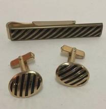 Swank Gold Tone Swank Cufflinks and Tie bar Clip with Red Rhinestones Vi... - $19.79