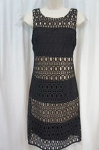 Sandra Darren Dress Sz 10 Black Nude Day Lace Sleeveless Cocktail Dinner... - $47.26