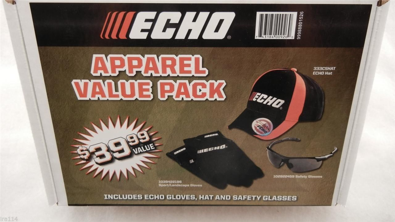 Primary image for 99988801526 ECHO Apparel Value Pack - Hat, Safety Glasses, Gloves