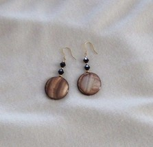 Brown Abalone and Swarovski Crystal Dangle Earrings With Gold Tone Accents - $19.99