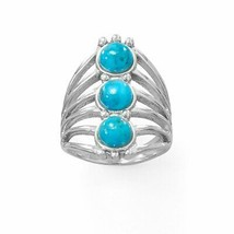 .925 Sterling Silver Polished Six Line Reconstituted Turquoise Women's Ring - $79.95
