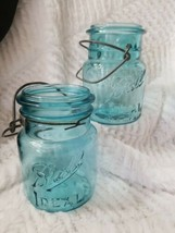 2 Vintage Ball Ideal Blue Glass Pint Canning Jars With Wire Bails #3 NO ... - $29.99
