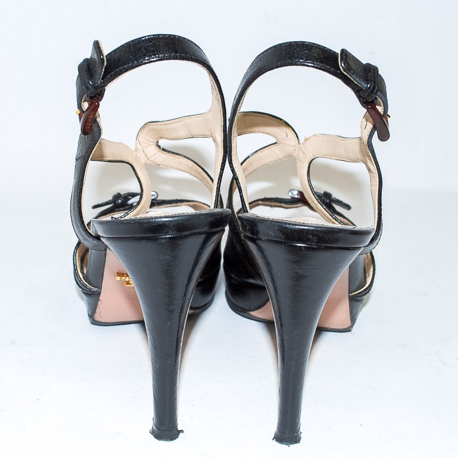 a7f193e984cb1 PRADA Black Leather High Heel Sandals Shoes and 42 similar items