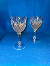 2 Crystal Stemmed Wine Glasses Thumbprint Cut Diamond Ball Stem France - $19.80