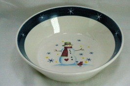 Snowman And Stars Blue Band Christmas Holiday Soup Cereal Bowl - $3.74