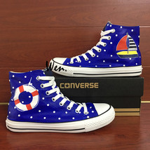 Hand Painted Wave Point Sailing Boat Canvas Sneakers Men Women Converse ... - $155.00