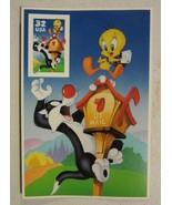 1998USA #3204c 32c Sylvester & Tweety - Looney Tunes - Label Panel Singl... - $2.96