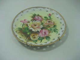 Vintage Ceramic Porcelain Decorative Collector Plate Floral Design Gold ... - $11.26