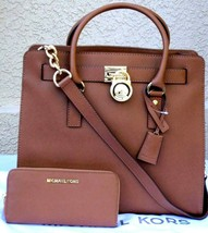 Michael Kors Hamilton 2PC Large Tote Bag Luggage Brown Gold Matching Wallet*Nwt* - $339.00