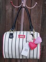 Betsey Johnson Quilted Hearts Black White  Barrel Satchel Multi Handbag ... - $87.12