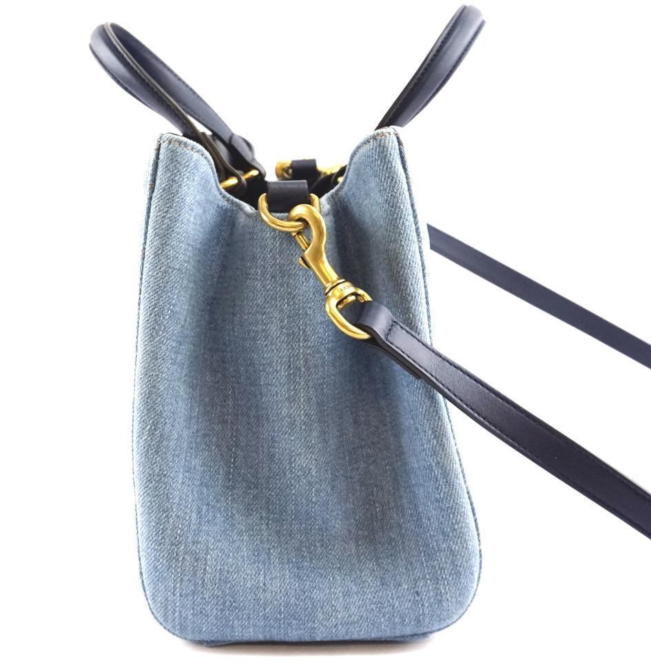 #31642 Gucci Marmont Gg Embroidered Matelasse Logo Tote Blue Denim Shoulder Bag image 7
