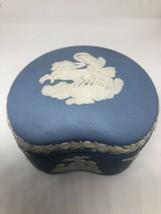 Wedgwood Pale Blue Jasperware Bean Shaped Trinket Box & Lid - $43.57