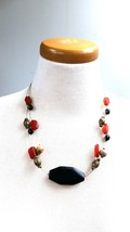 Vintage Necklace Black Center Stone with 3 wire strands and misc beads - $15.29
