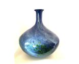 "Large Decorative Art Vase Blue Swirl Green Splashes 13"" Tall x 12"" Diameter"