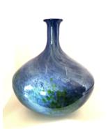 "Large Decorative Art Vase Blue Swirl Green Splashes 13"" Tall x 12"" Diame... - $146.52"