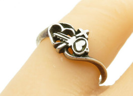 925 Sterling Silver - Vintage Love Heart Lock & Key Band Ring Sz 7 - R12453 - $21.79