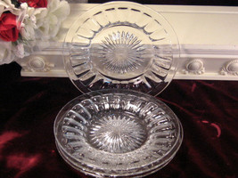 Vintage Heisey Glass Crystal Narrow Flute Salad Lunch Plate Set of Four, Pattern - $22.99