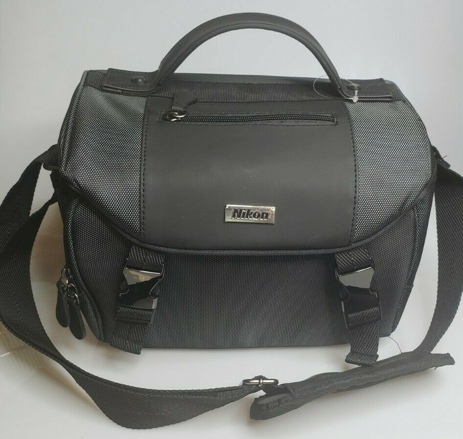 Genuine Nikon Deluxe Digital SLR DSLR Black Padded Shoulder Camera Bag Nice NWOT - $39.95