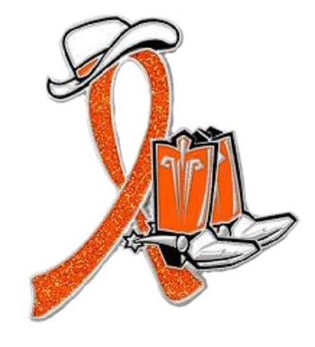 Orange Ribbon Pin Awareness Western Cowboy Boots Many Cancer Causes Kidney New