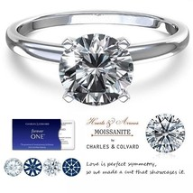 14K Gold 1.00 Carat Moissanite Forever One Hearts&Arrows Ring (Charles&C... - $599.00
