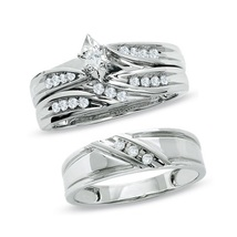 Marquise Shape CZ 14k White Gold Plated 925 Silver His Her Trio Wedding Ring Set - $150.88