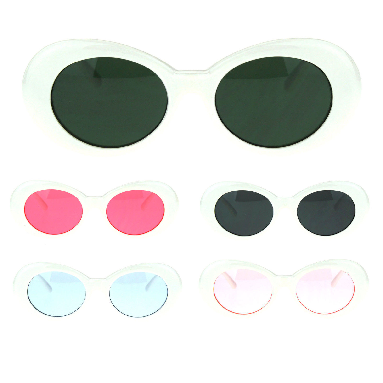 Womens White Plastic Gothic Vintage Cat Eye Mod Color Lens Sunglasses