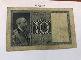 Italy 10 lire Impero circulated banknote 1939 #2 - $4.95
