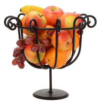 SCROLLED FRUIT BOWL Black Wrought Iron Decor Basket Stand Amish Handmade... - $34.62