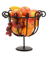 SCROLLED FRUIT BOWL Black Wrought Iron Decor Basket Stand Amish Handmade... - $34.62