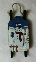 Wooden Snowman Sled Christmas Tree Ornament Holiday Decoration - $12.64