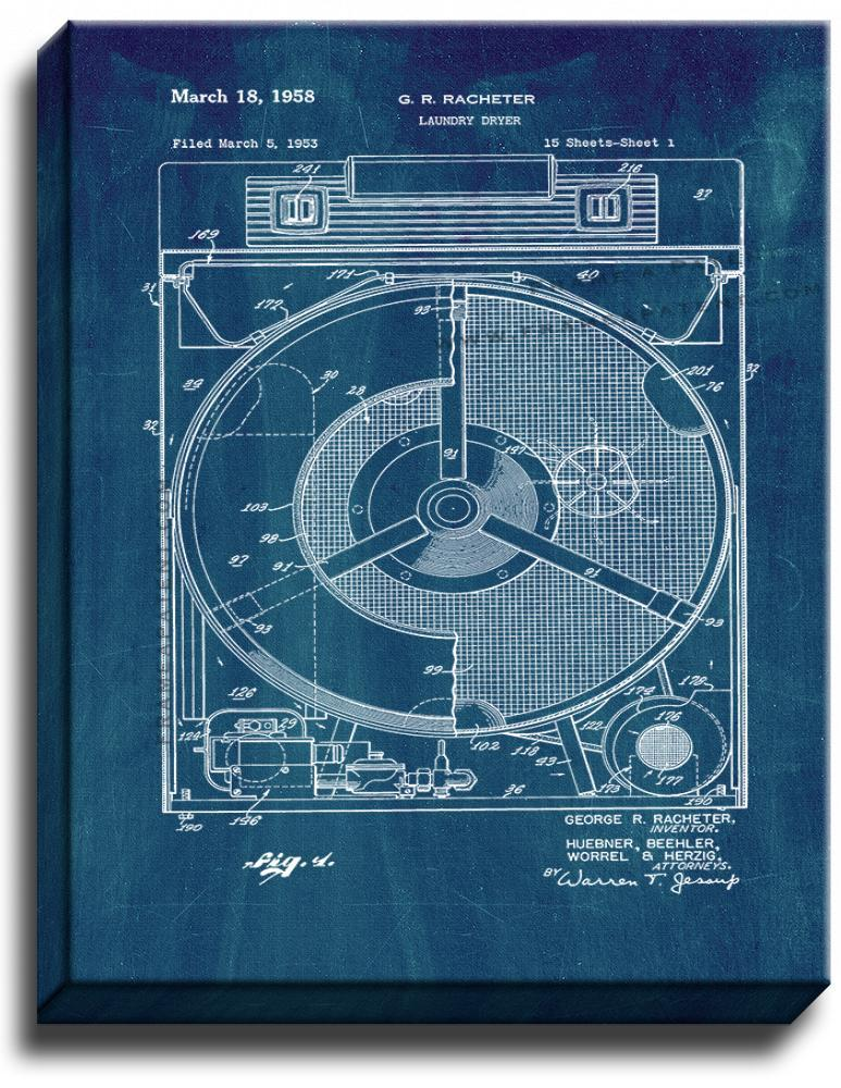 Primary image for Laundry Dryer Patent Print Midnight Blue on Canvas