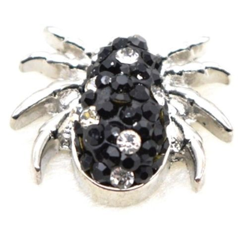 Black White Rhinestone Spider Halloween 20mm Snap Charm Jewelry For Ginger Snaps