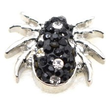 Black White Rhinestone Spider Halloween 20mm Snap Charm Jewelry For Ging... - $6.19