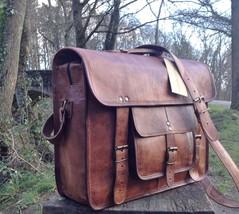Mens Leather Messenger Bag Men Laptop Briefcase Satchel Men Bag Brown - $45.00