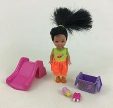 Barbie Baby Kelly Doll Lot Ice Cream Slide Black Hair Toys Mattel Vintag... - $12.82