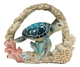 Larger Nautical Marine Blue Shell Sea Turtle Swimming By Coral Reef Deco... - £19.28 GBP