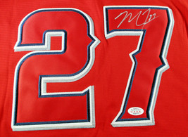 MIKE TROUT / AUTOGRAPHED LOS ANGELES ANGELS RED PRO STYLE BASEBALL JERSEY / COA image 4