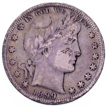 1899 50C Barber Half Dollar in Fine Condition, Medium Toning, Readable L... - $57.15