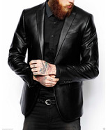 Men's Genuine Lambskin Real Leather Blazer Jacket Two Button Slim Fit Coat NF2 - $119.99