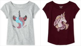NWT The Childrens Place Sequin Unicorn Girls Short Sleeve Shirt - $9.99