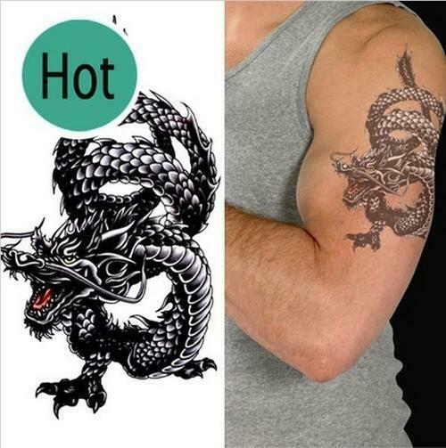 Men / Women Fashion Temporary Tattoo Dragon Pattern Body Art Waterproof Sticker
