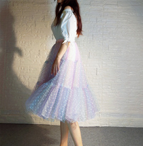 Women Girl Rainbow Long Tulle Skirt Polka Dot Rainbow Skirt Holiday Skirt Outfit image 10