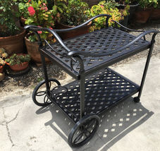 Outdoor Tea Cart Patio Furniture Cast Aluminum Bronze image 3