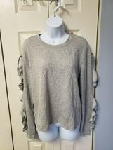 xhilaration long shirt with ruffles on sleeves grey Medium - $9.21