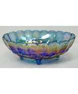 "Indiana Glass Carnival Glass Fruit Bowl Blue Oval Footed Vintage 12"" X 8.5"" - $35.00"