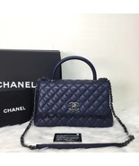 100% AUTH CHANEL RARE MEDIUM COCO HANDLE BAG DARK NAVY BLUE CAVIAR RHW - $4,199.99