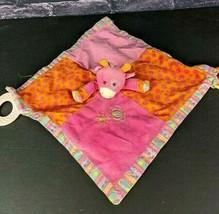 Mary Meyer Baby Giraffe Security Blanket Lovey Pink Crinkle Rings Teether #A16 - $10.88